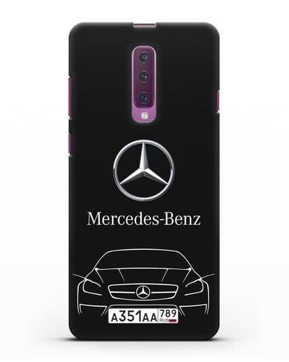 Чехол Mercedes Benz с автомобильным номером силикон черный для Samsung Galaxy A90 [SM-A908N]