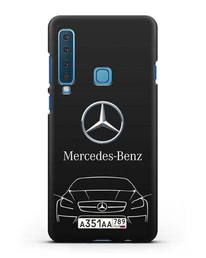 Чехол Mercedes Benz с автомобильным номером силикон черный для Samsung Galaxy A9 (2018) [SM-A920]
