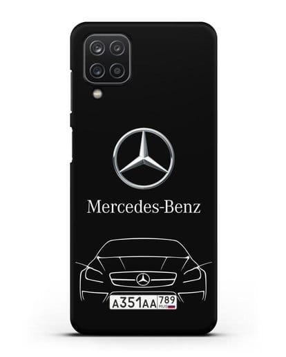 Чехол Mercedes Benz с автомобильным номером силикон черный для Samsung Galaxy A12 [SM-A125F]