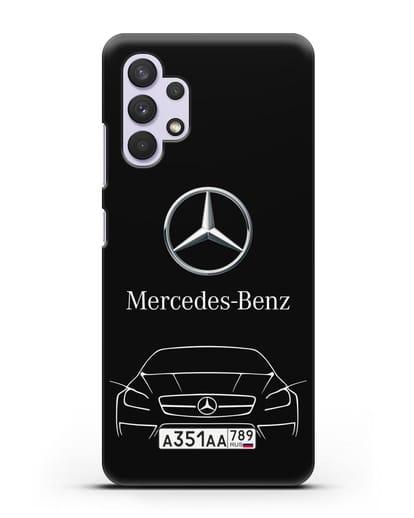 Чехол Mercedes Benz с автомобильным номером силикон черный для Samsung Galaxy A32 5G [SM-A326B]
