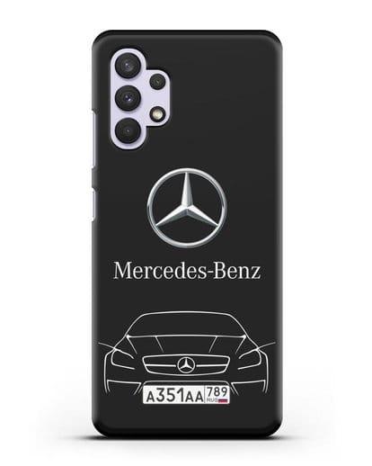 Чехол Mercedes Benz с автомобильным номером силикон черный для Samsung Galaxy A32 4G [SM-A325F]