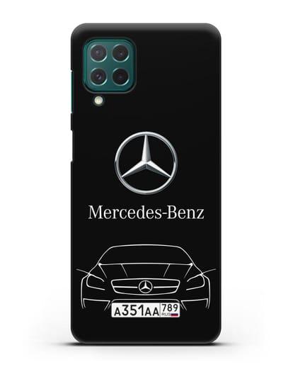 Чехол Mercedes Benz с автомобильным номером силикон черный для Samsung Galaxy M62 [SM-M625F]