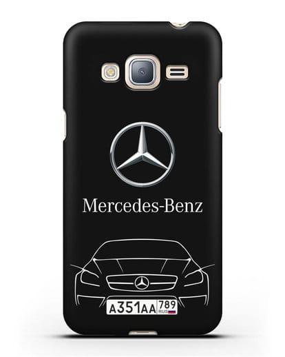 Чехол Mercedes Benz с автомобильным номером силикон черный для Samsung Galaxy J3 2016 [SM-J320F]