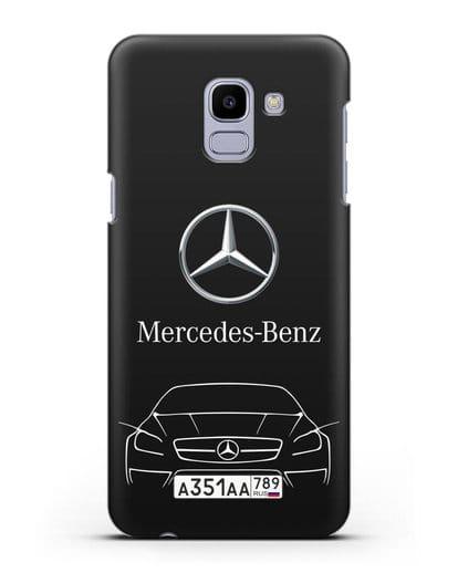 Чехол Mercedes Benz с автомобильным номером силикон черный для Samsung Galaxy J6 2018 [SM-J600F]