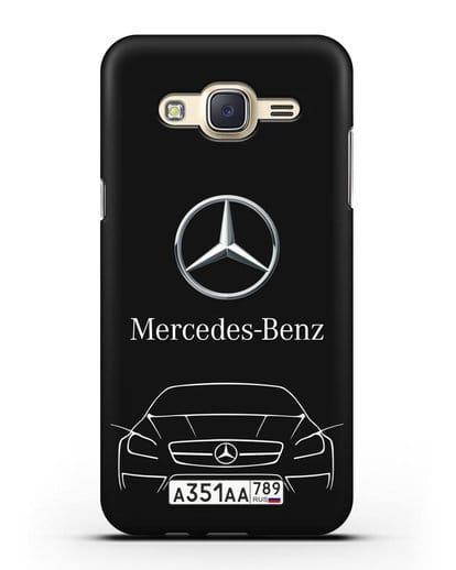 Чехол Mercedes Benz с автомобильным номером силикон черный для Samsung Galaxy J7 Neo [SM-J701F]