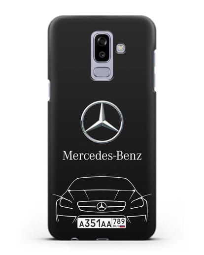 Чехол Mercedes Benz с автомобильным номером силикон черный для Samsung Galaxy J8 2018 [SM-J810F]