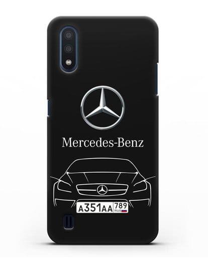 Чехол Mercedes Benz с автомобильным номером силикон черный для Samsung Galaxy M01 [SM-M015F]