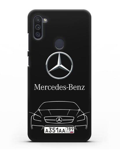 Чехол Mercedes Benz с автомобильным номером силикон черный для Samsung Galaxy M11 [SM-M115F]