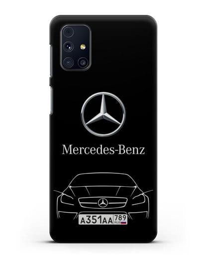 Чехол Mercedes Benz с автомобильным номером силикон черный для Samsung Galaxy M31s [SM-M317F]