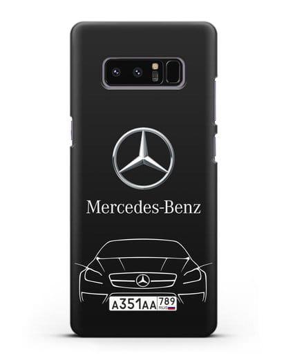 Чехол Mercedes Benz с автомобильным номером силикон черный для Samsung Galaxy Note 8 [N950F]