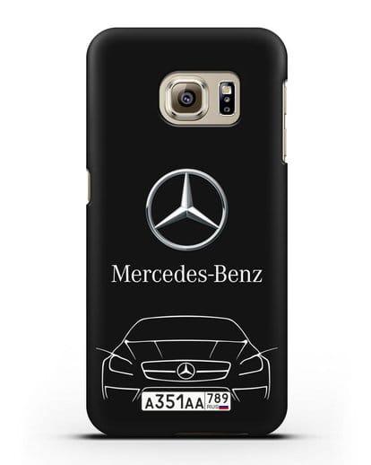 Чехол Mercedes Benz с автомобильным номером силикон черный для Samsung Galaxy S6 Edge [SM-G925F]