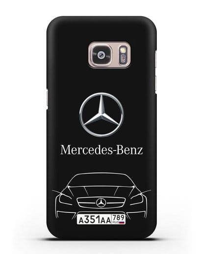 Чехол Mercedes Benz с автомобильным номером силикон черный для Samsung Galaxy S7 Edge [SM-G935F]