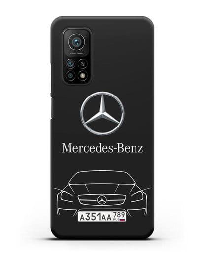 Чехол Mercedes Benz с автомобильным номером силикон черный для Xiaomi Mi 10t Pro