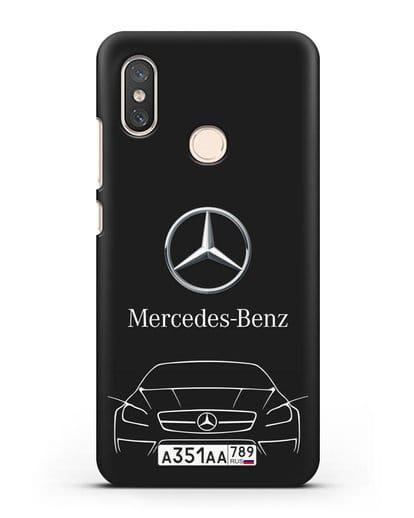 Чехол Mercedes Benz с автомобильным номером силикон черный для Xiaomi Mi 8