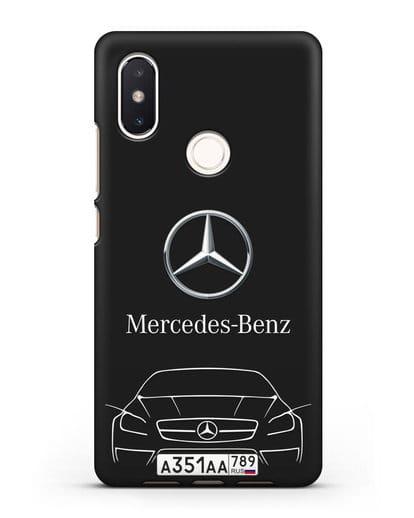 Чехол Mercedes Benz с автомобильным номером силикон черный для Xiaomi Mi 8 SE