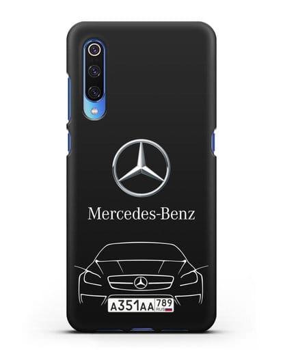 Чехол Mercedes Benz с автомобильным номером силикон черный для Xiaomi Mi 9