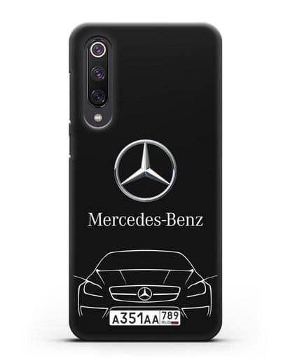 Чехол Mercedes Benz с автомобильным номером силикон черный для Xiaomi Mi 9 SE