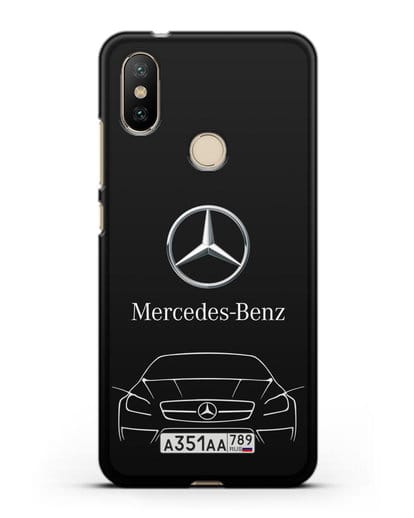 Чехол Mercedes Benz с автомобильным номером силикон черный для Xiaomi Mi A2