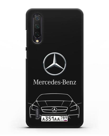 Чехол Mercedes Benz с автомобильным номером силикон черный для Xiaomi Mi A3 Lite