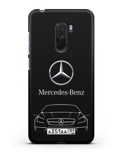 Чехол Mercedes Benz с автомобильным номером силикон черный для Xiaomi Pocophone F1
