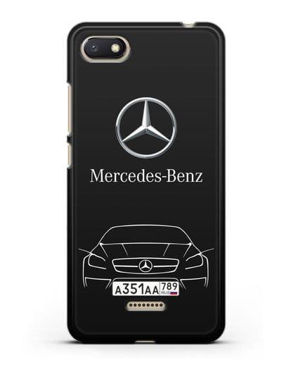 Чехол Mercedes Benz с автомобильным номером силикон черный для Xiaomi Redmi 6A