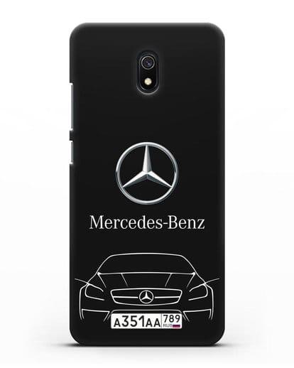 Чехол Mercedes Benz с автомобильным номером силикон черный для Xiaomi Redmi 8A
