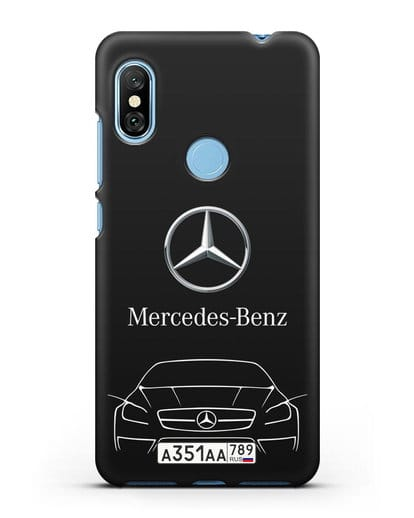 Чехол Mercedes Benz с автомобильным номером силикон черный для Xiaomi Redmi Note 6 Pro