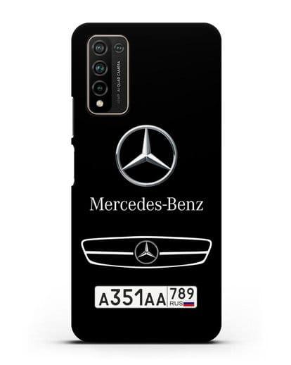 Чехол Мерседес Бенц с номерным знаком силикон черный для Honor 10X Lite
