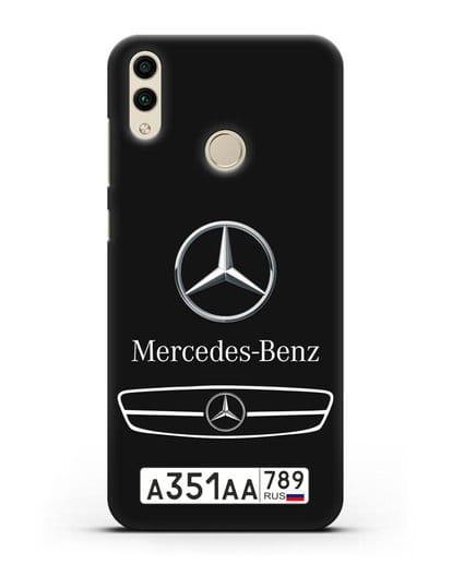 Чехол Мерседес Бенц с номерным знаком силикон черный для Honor 8C