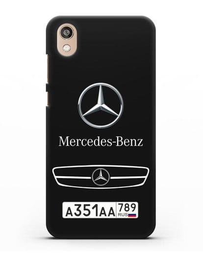 Чехол Мерседес Бенц с номерным знаком силикон черный для Honor 8S