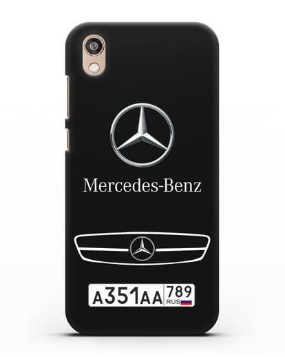Чехол Мерседес Бенц с номерным знаком силикон черный для Honor 8S Prime