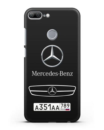 Чехол Мерседес Бенц с номерным знаком силикон черный для Honor 9 Lite