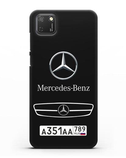 Чехол Мерседес Бенц с номерным знаком силикон черный для Honor 9S
