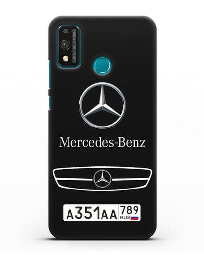 Чехол Мерседес Бенц с номерным знаком силикон черный для Honor 9X lite