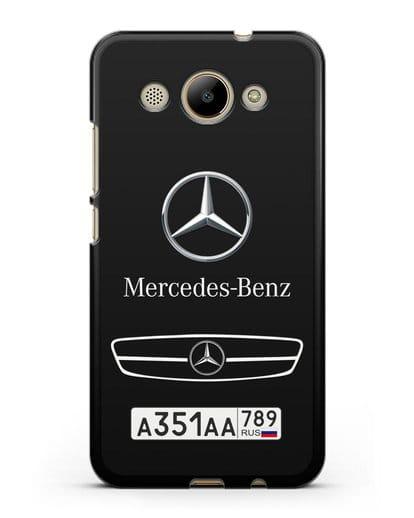 Чехол Мерседес Бенц с номерным знаком силикон черный для Huawei Y3 2017