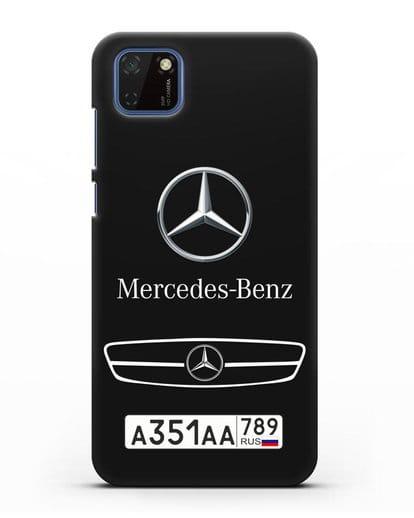 Чехол Мерседес Бенц с номерным знаком силикон черный для Huawei Y5P
