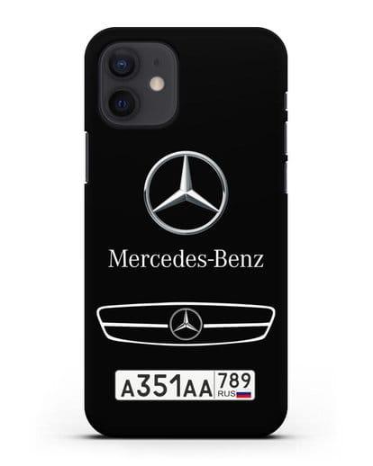 Чехол Мерседес Бенц с номерным знаком силикон черный для iPhone 12