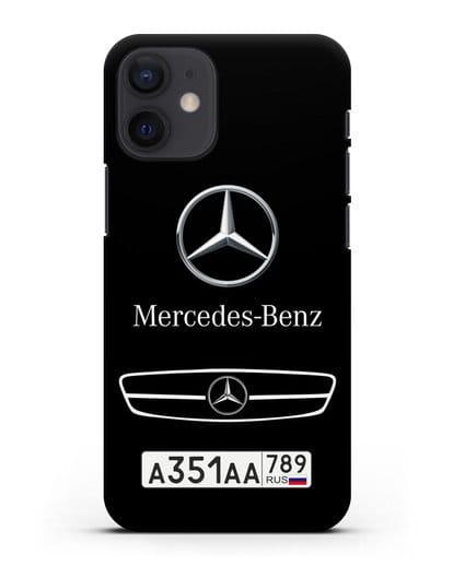 Чехол Мерседес Бенц с номерным знаком силикон черный для iPhone 12 mini