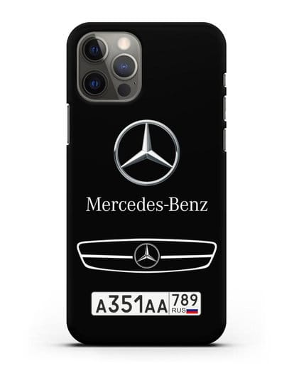 Чехол Мерседес Бенц с номерным знаком силикон черный для iPhone 12 Pro