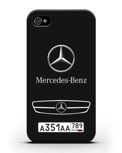 Чехол Мерседес Бенц с номерным знаком силикон черный для iPhone 4/4s