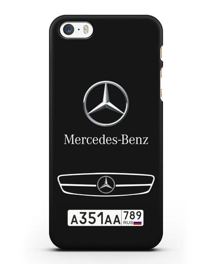 Чехол Мерседес Бенц с номерным знаком силикон черный для iPhone 5/5s/SE
