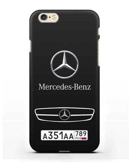 Чехол Мерседес Бенц с номерным знаком силикон черный для iPhone 6