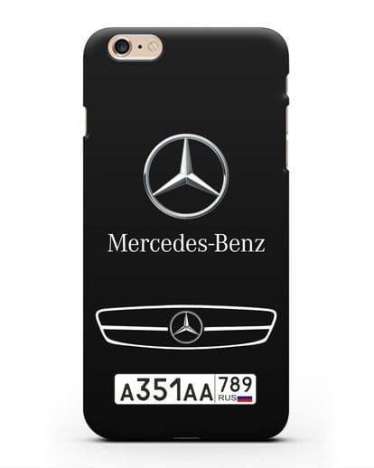 Чехол Мерседес Бенц с номерным знаком силикон черный для iPhone 6s Plus