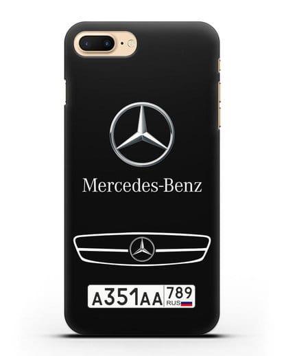Чехол Мерседес Бенц с номерным знаком силикон черный для iPhone 7 Plus