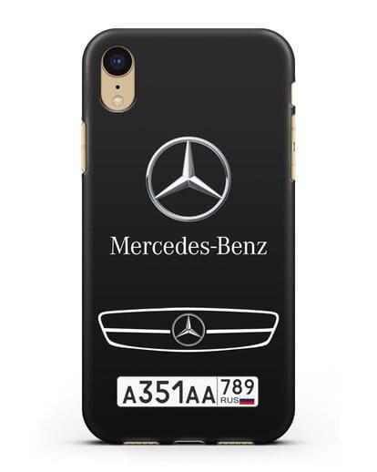 Чехол Мерседес Бенц с номерным знаком силикон черный для iPhone XR