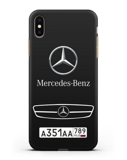 Чехол Мерседес Бенц с номерным знаком силикон черный для iPhone XS Max