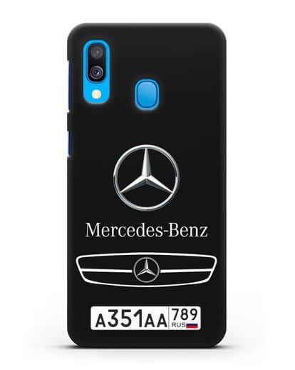 Чехол Мерседес Бенц с номерным знаком силикон черный для Samsung Galaxy A40 [SM-A405F]