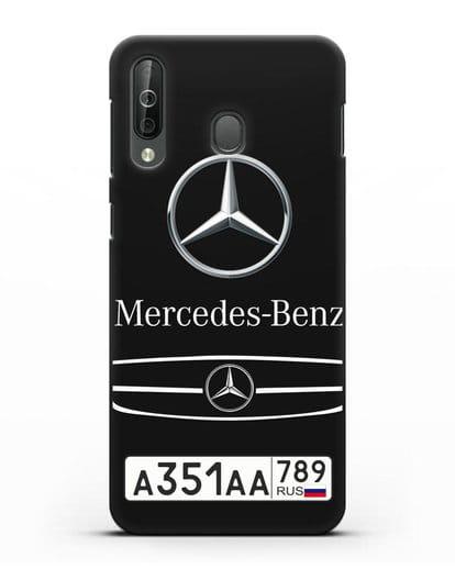Чехол Мерседес Бенц с номерным знаком силикон черный для Samsung Galaxy A40s [SM-A507FN]