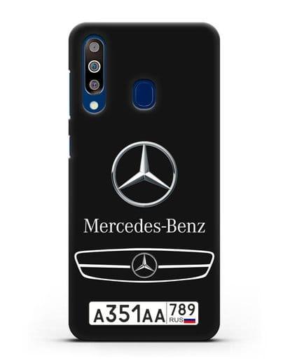 Чехол Мерседес Бенц с номерным знаком силикон черный для Samsung Galaxy A60 [SM-A606F]