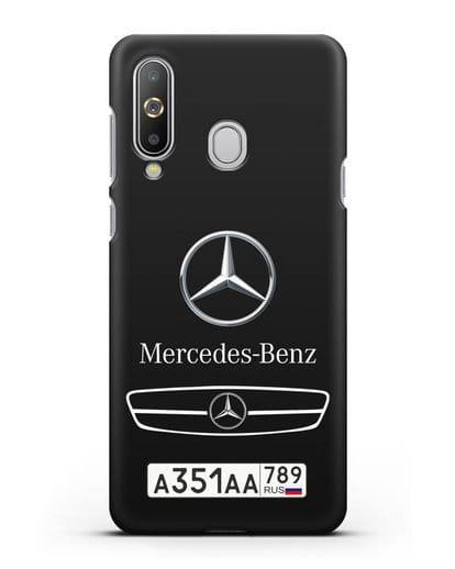 Чехол Мерседес Бенц с номерным знаком силикон черный для Samsung Galaxy A8s [SM-G8870]